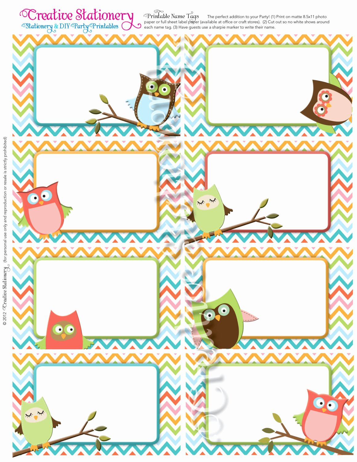 Baby Shower Tags Template Inspirational Owl Baby Shower Name Tags orange Green Pink by