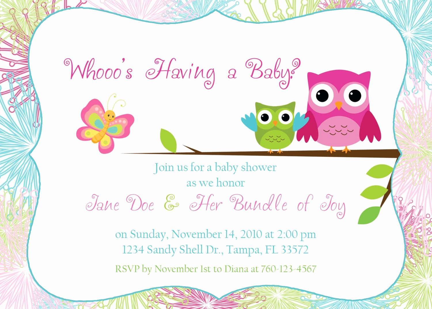 Baby Shower Template Free Fresh Owl Baby Shower Invitation by Designsbyoccasion On Etsy