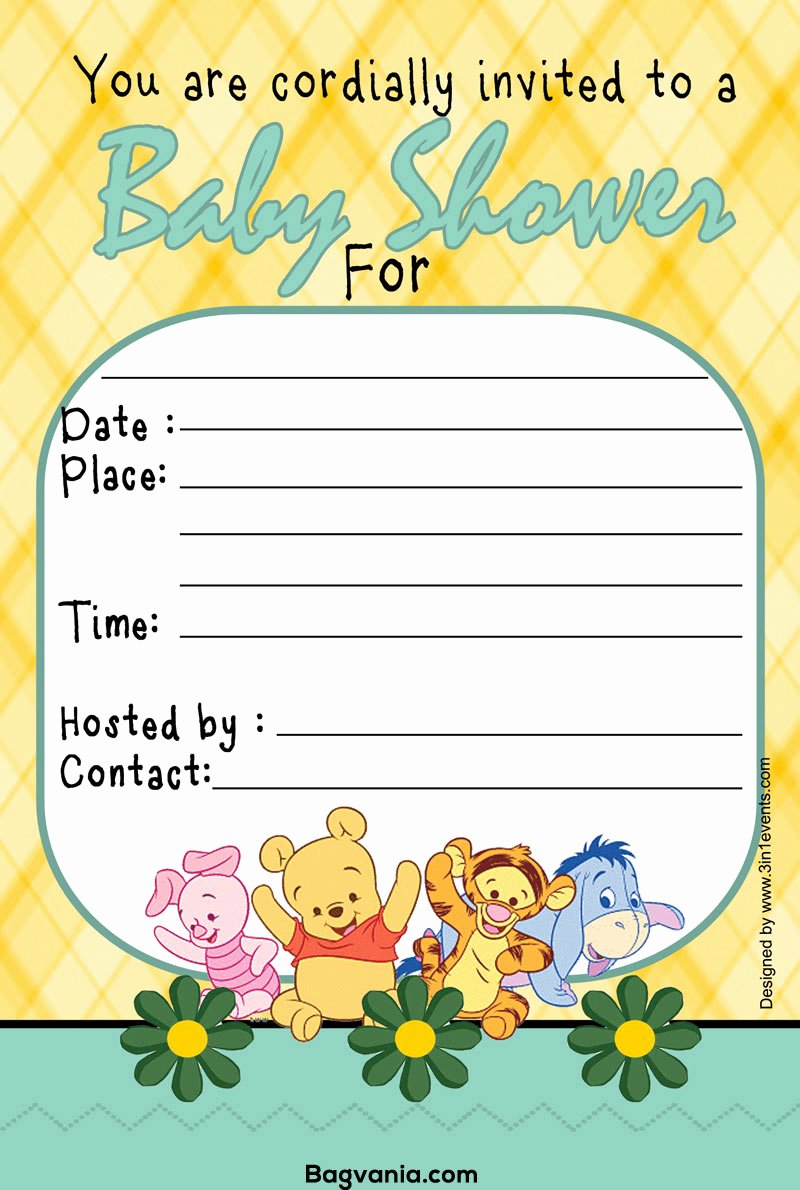 Baby Shower Template Free New Free Printable Winnie the Pooh Birthday Invitation Wording