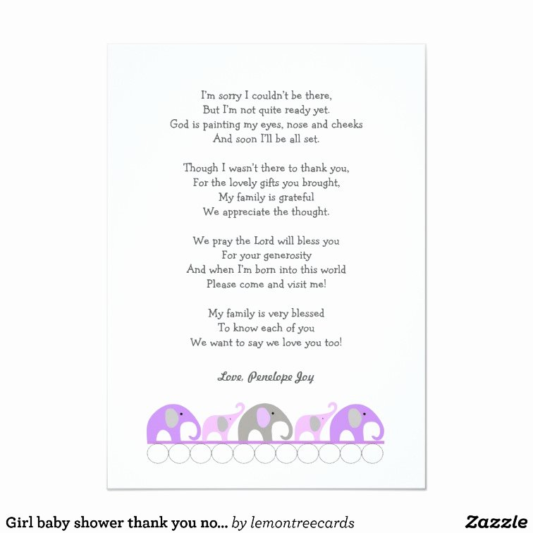 Baby Shower Thank You Letter Awesome Girl Elephant Baby Shower Thank You Note with Poem Card