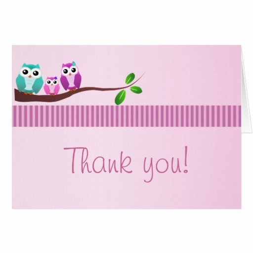 Baby Shower Thank You Letter Awesome Owl Baby Shower Thank You Note Pink Card