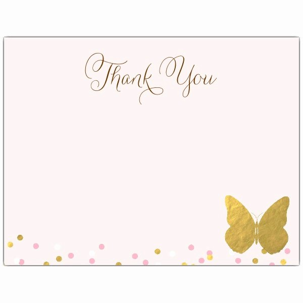 Baby Shower Thank You Letter Elegant Gold butterfly Baby Shower Thank You Note Cards