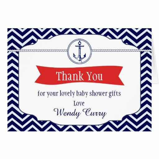 Baby Shower Thank You Letter Fresh Nautical Chevron Baby Shower Thank You Note Card