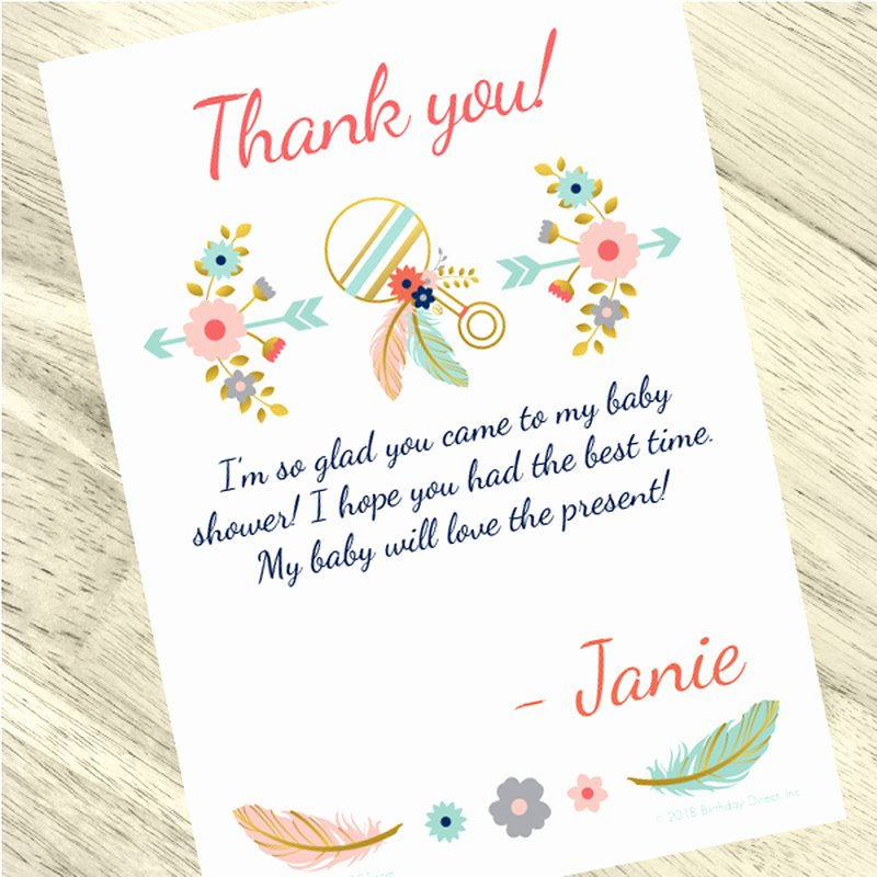 Baby Shower Thank You Letter Lovely Boho Baby Shower Custom Thank You Cards 24ct
