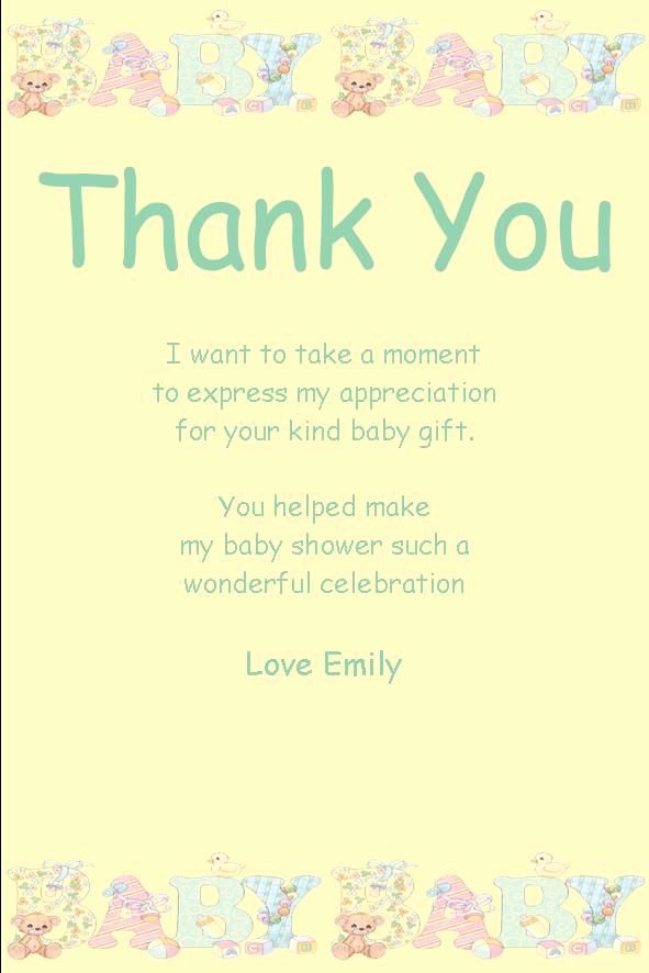 Baby Shower Thank You Letter Luxury Personalised Baby Shower Thank You Card Design 10 Baby