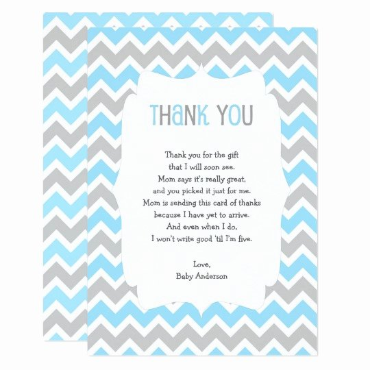Baby Shower Thank You Letter Unique Blue Grey Baby Shower Thank You Note Poem Invitation