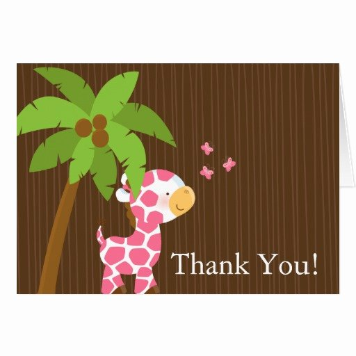 cute jungle giraffe girl baby shower thank you stationery note card