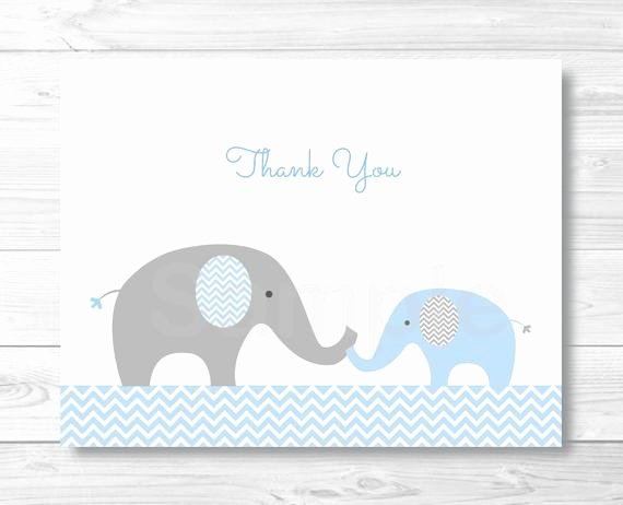 Baby Shower Thank You Template Best Of Blue Elephant Chevron Thank You Card Folded Card Template
