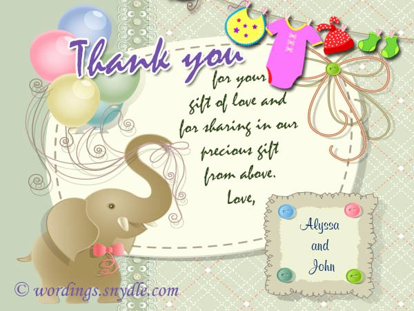 Baby Shower Thank You Template Elegant Baby Shower Thank You Notes Samples Wordings and Messages
