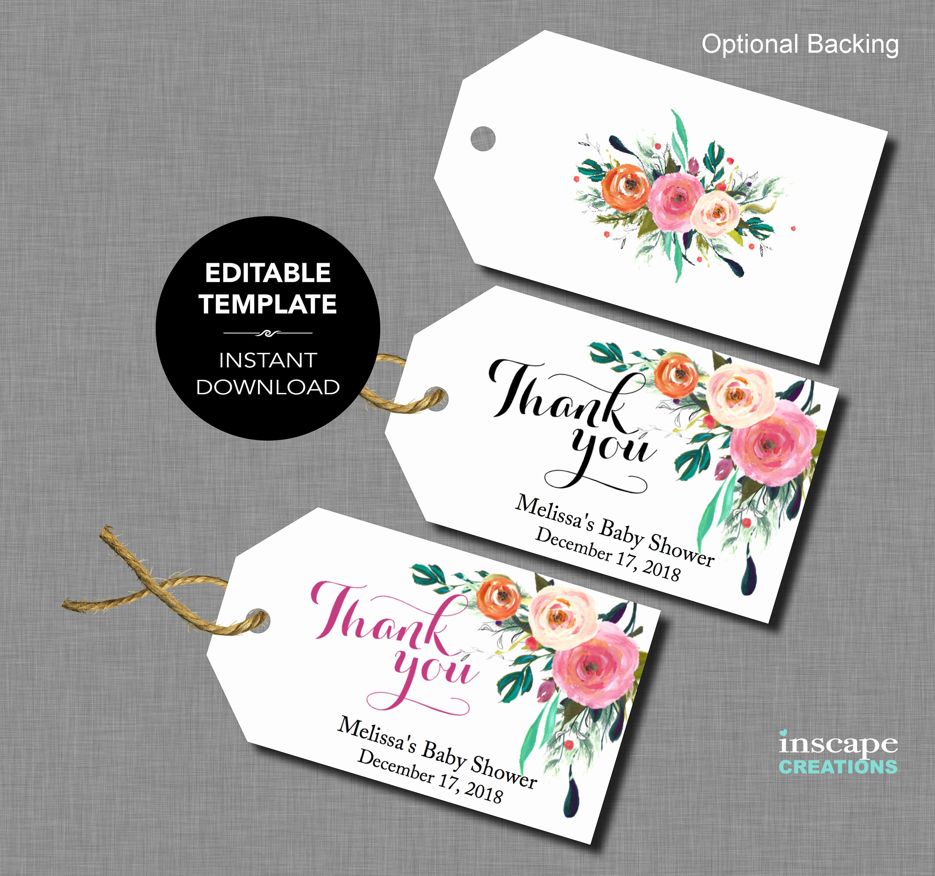 Baby Shower Thank You Template Lovely Editable Baby Shower Favor Tags Editable Template Thank