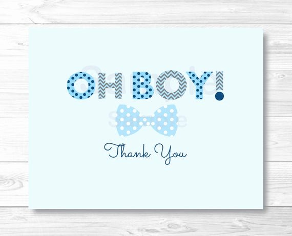 Baby Shower Thank You Template Lovely Oh Boy Bow Tie Folded Thank You Card Template Little Man