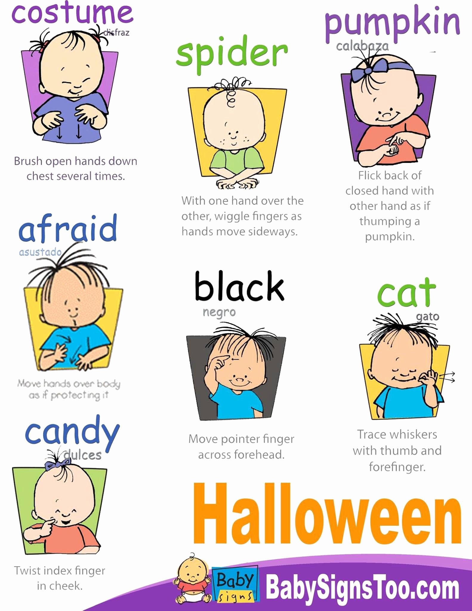 Baby Sign Language Posters Inspirational Halloween Signs Printable Poster Babysigns