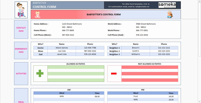 Babysitter Information Sheet Template Beautiful Babysitter Information Sheet Printable Excel form