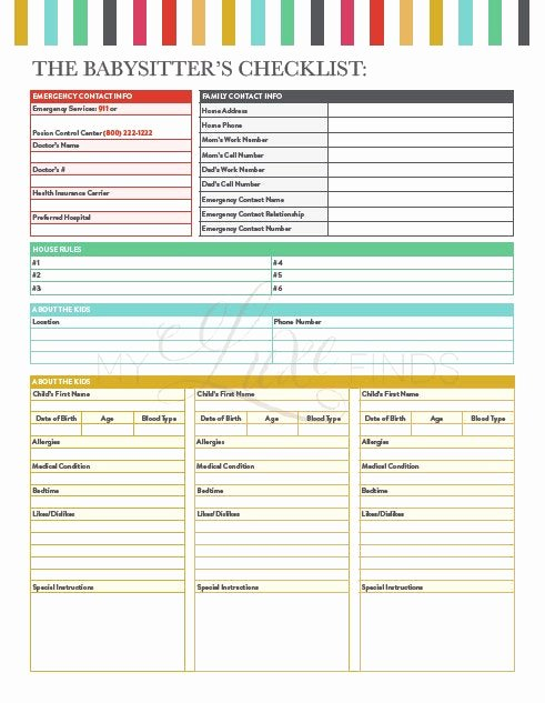 Babysitter Information Sheet Template Beautiful Babysitter S Information & Emergency Guide and Checklist