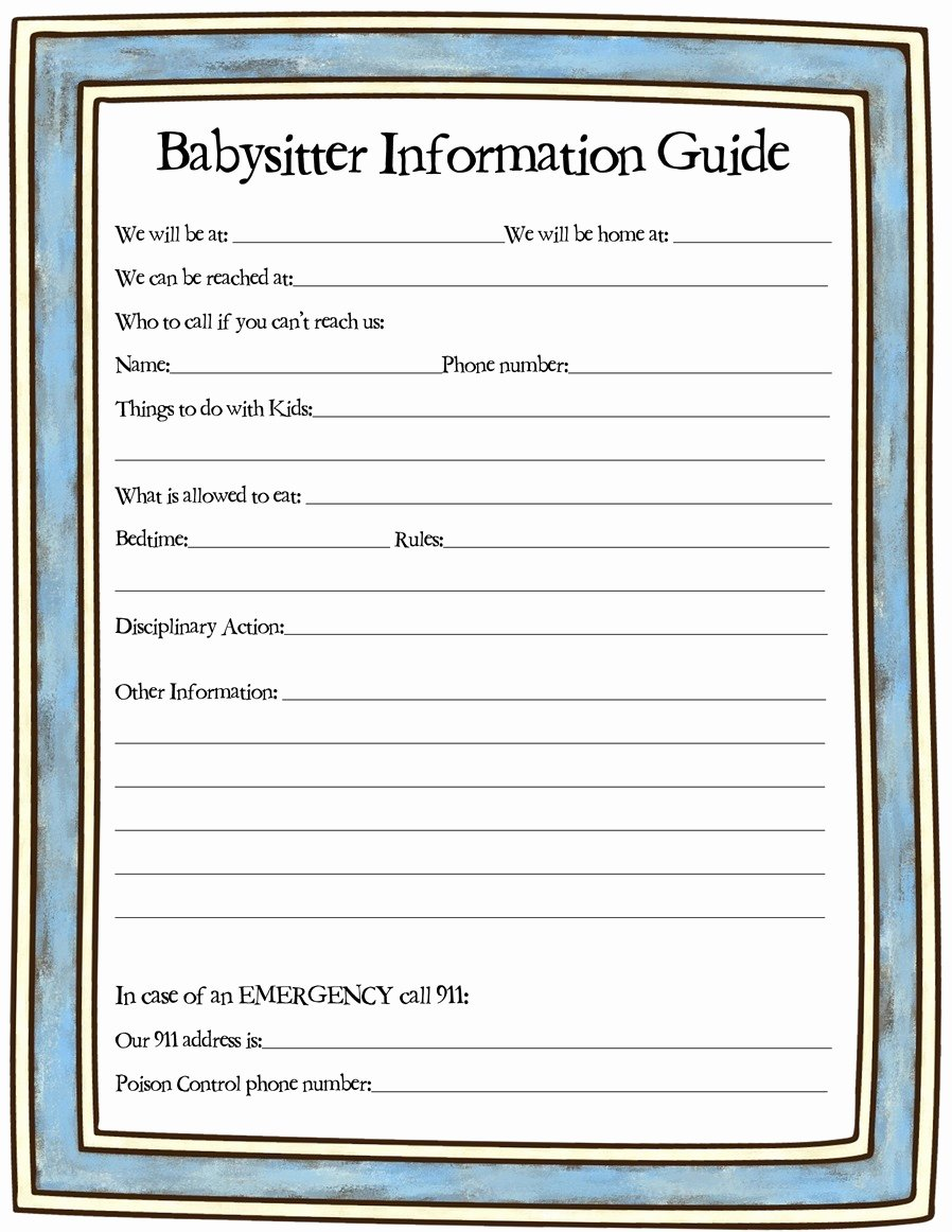 Babysitter Information Sheet Template Best Of Babysitter Info Sheet