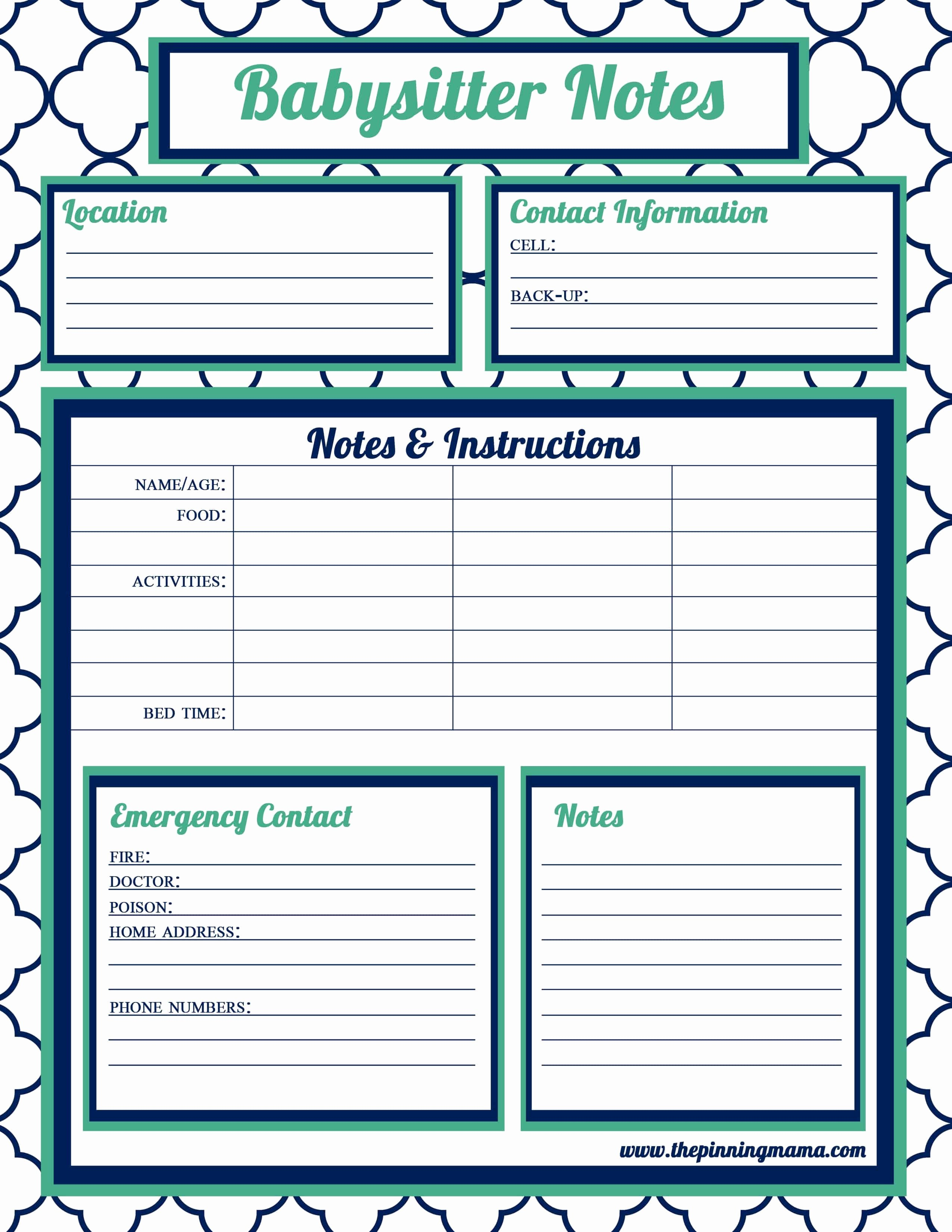 Babysitter Information Sheet Template Best Of House Cleaning Dry Erase House House House Cleaning Notes