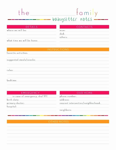 Babysitter Information Sheet Template Elegant Awesome Babysitter Cheat Sheet Free Printable