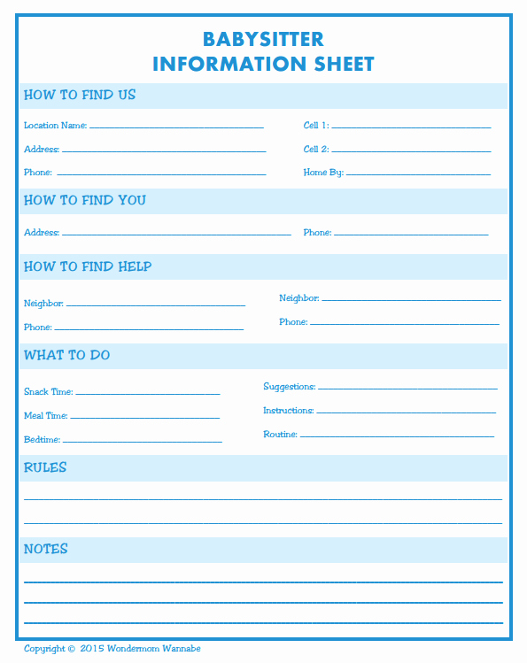 Babysitter Information Sheet Template Fresh My Newest Family Binder Addition is A Babysitter