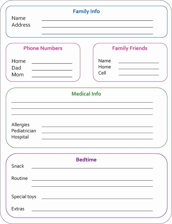 Babysitter Information Sheet Template Inspirational Random Bits Babysitter Info Sheet organization