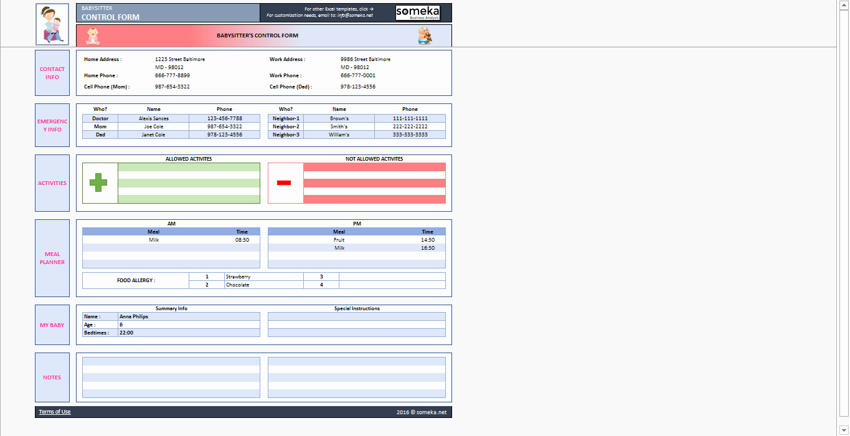 Babysitter Information Sheet Template Luxury Babysitter Information Sheet Printable Excel form