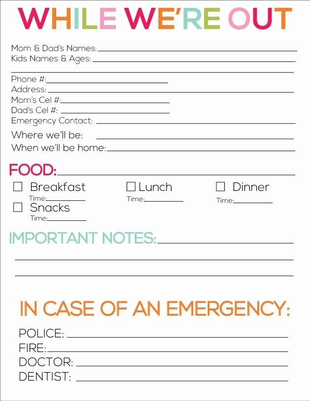 Babysitter Information Sheet Template Luxury Printable Babysitter Notes Free Printables