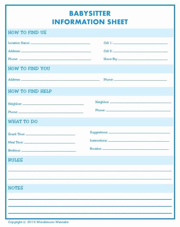 Babysitter Information Sheet Template New Babysitter Information Printable