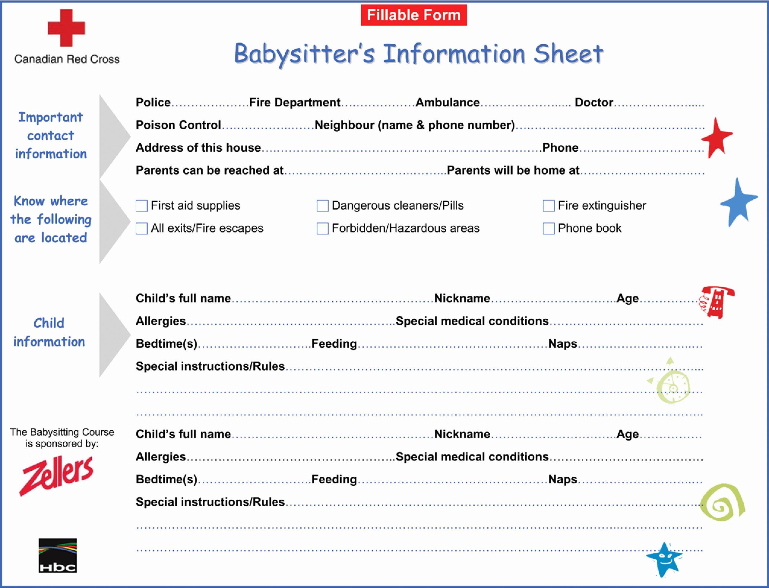 Babysitter Information Sheet Template New Printable Babysitter Information Sheet