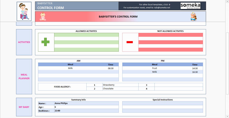 Babysitter Information Sheet Template Unique Babysitter Information Sheet Printable Excel form