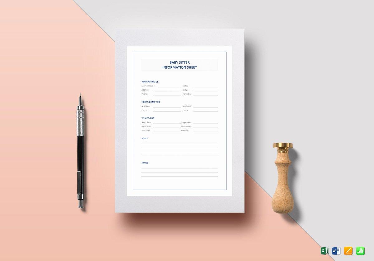 Babysitter Information Sheet Template Unique Babysitter Information Sheet Template In Word Excel