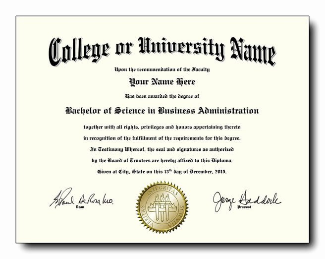 Bachelor Degree Certificate Template Beautiful Fake College and University Diplomas Starting at Only $59