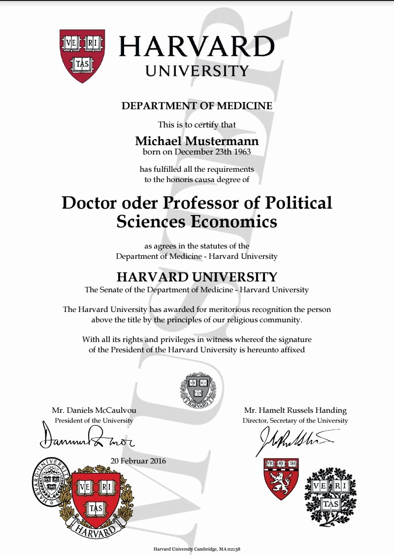 Bachelor Degree Certificate Template New Doktortitel Kaufen Harvard University