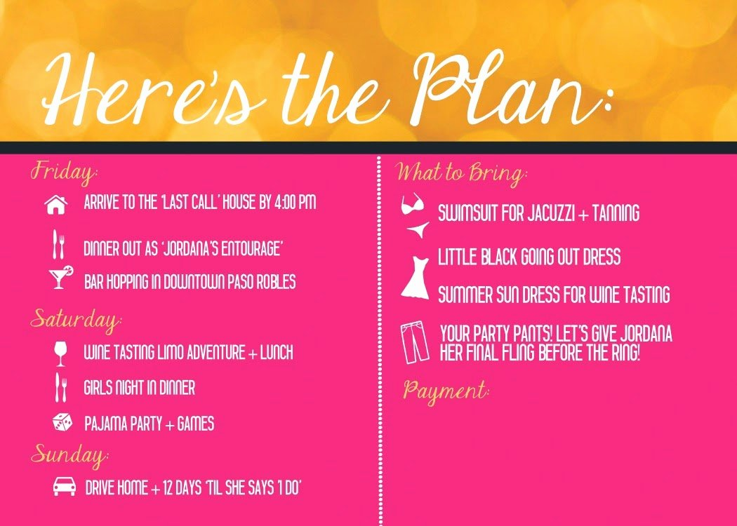 Bachelorette Party Agenda Template Awesome Coloring orange Bachelorette Invitation Wine Tasting