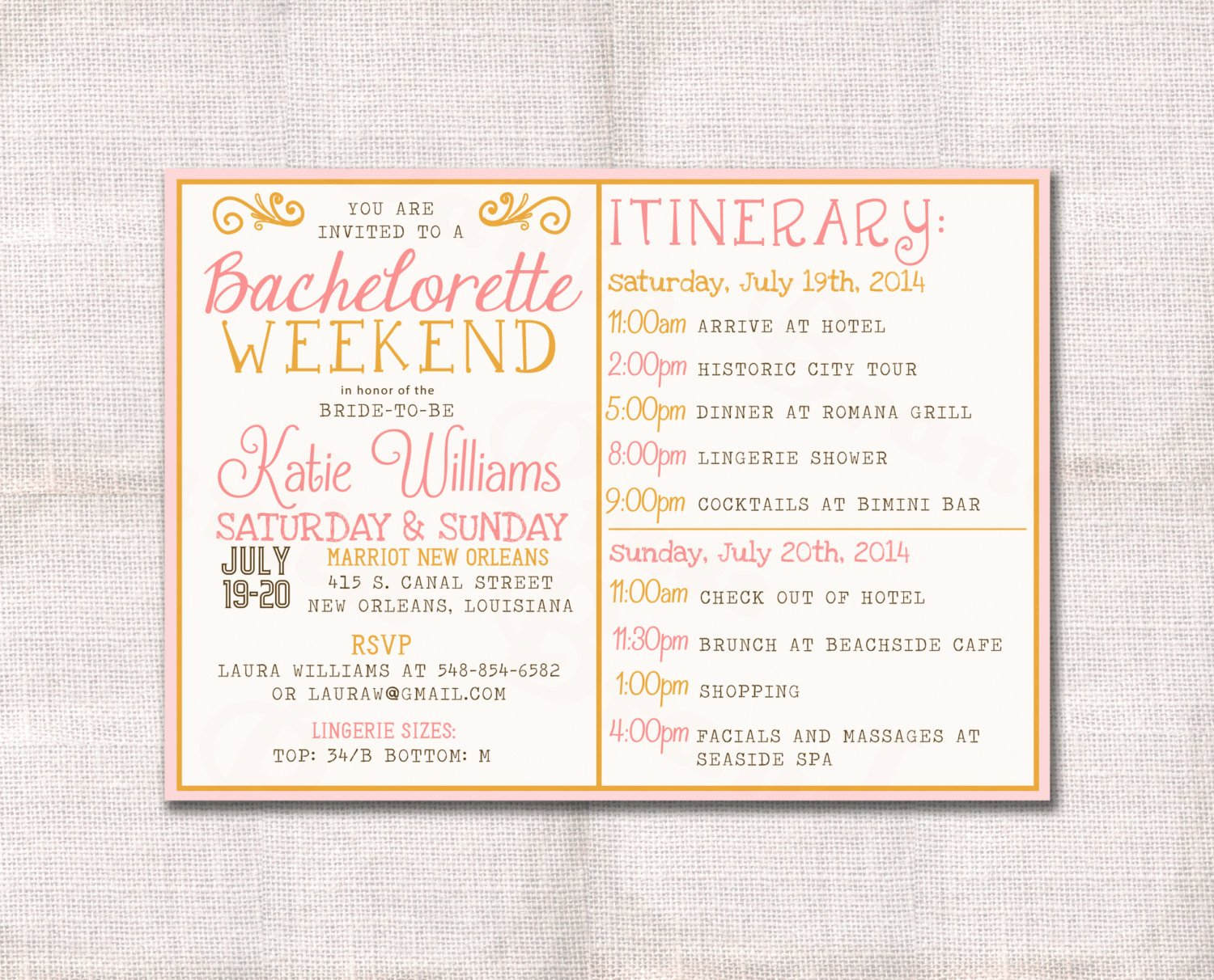 Bachelorette Party Agenda Template Beautiful Bachelorette Party Weekend Invitation and Itinerary Custom