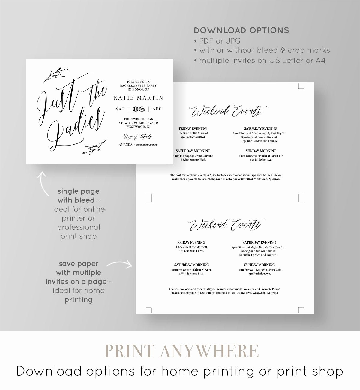 Bachelorette Party Agenda Template Best Of Bachelorette Party Invitation & Itinerary Instant