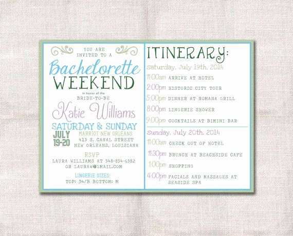 Bachelorette Party Agenda Template Best Of Bachelorette Party Weekend Invitation and Itinerary Custom