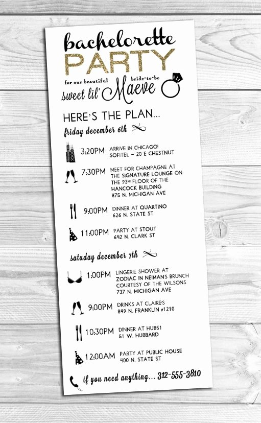 Bachelorette Party Agenda Template Best Of I Created This Custom Bachelorette Party Itinerary for A