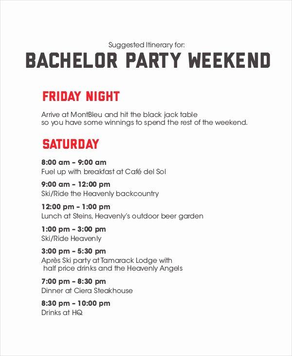 Bachelorette Party Agenda Template Fresh Bachelorette Party Itinerary Sample