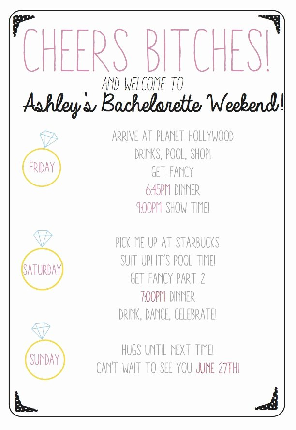 Bachelorette Party Agenda Template Fresh Cheers Bitches Use This Custom Printable Bachelorette