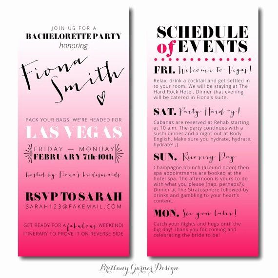 Bachelorette Party Agenda Template Fresh Fun Ombre Pink Weekend Bachelorette Party Invitations with