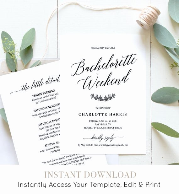 Bachelorette Party Agenda Template Lovely Bachelorette Party Weekend Invitation Itinerary Agenda