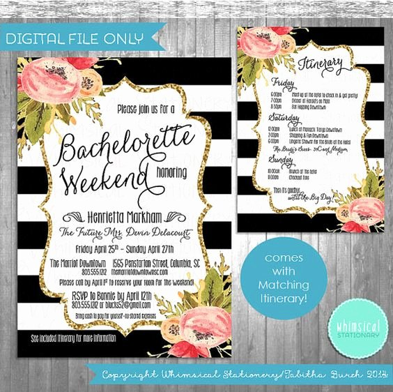 "Bachelorette Party Agenda Template Luxury Bachelorette Party Weekend Invitation & Itinerary ""black"