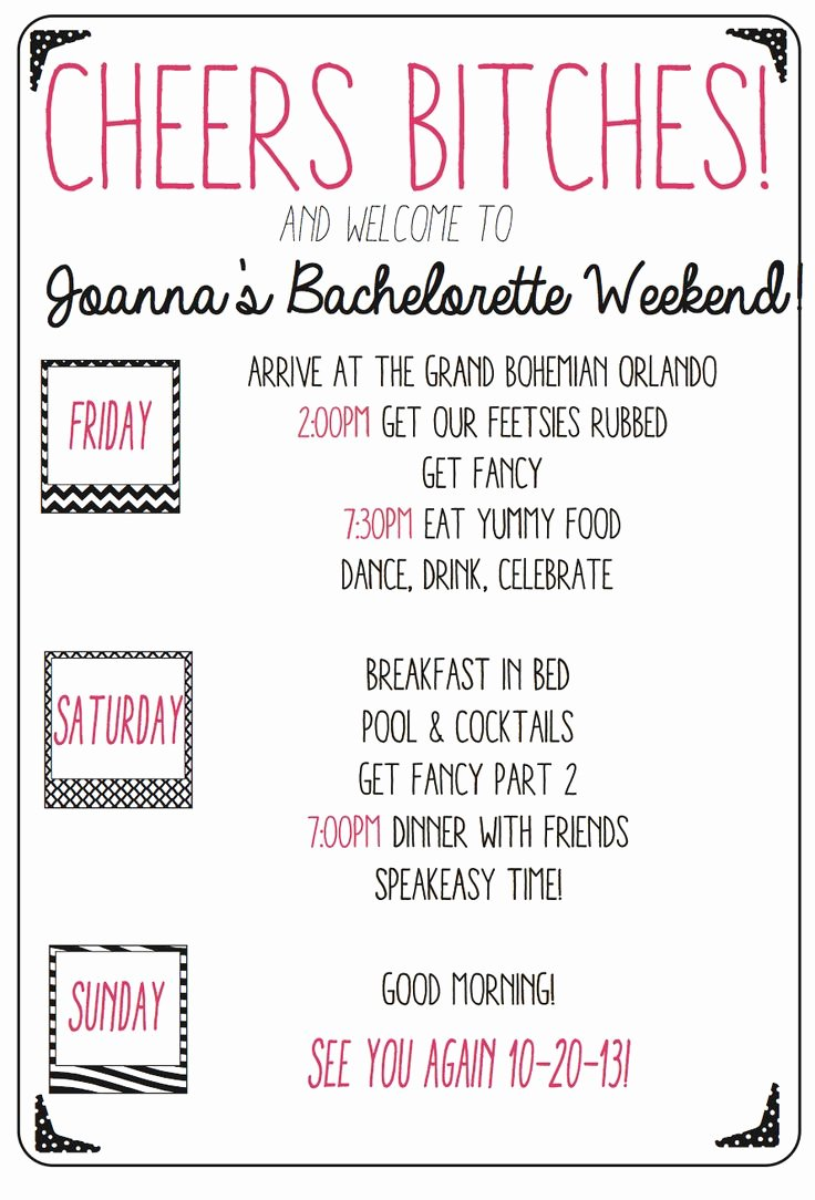Bachelorette Party Agenda Template Luxury Custom Bachelorette Weekend Agenda Keep Your Girls In