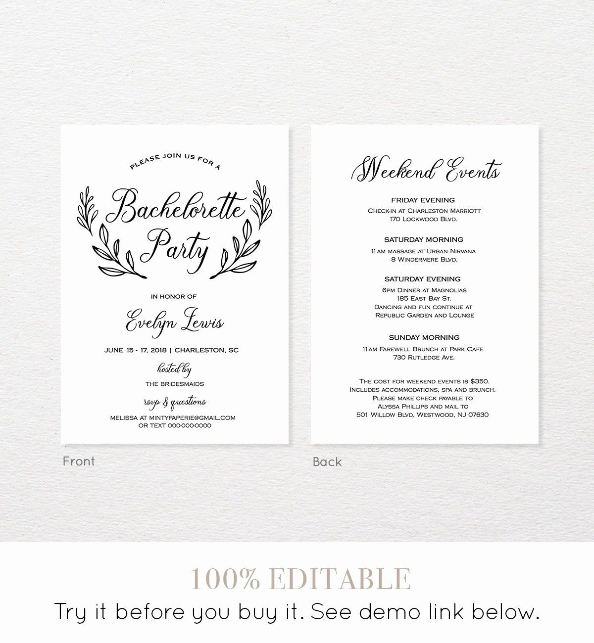 Bachelorette Party Agenda Template New Bachelorette Party Invitation Template Printable