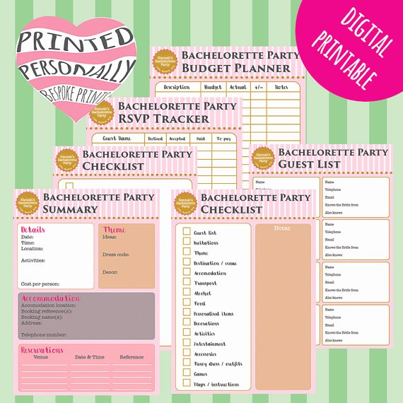 Bachelorette Party Agenda Template New Items Similar to Personalised Bachelorette Party Planner