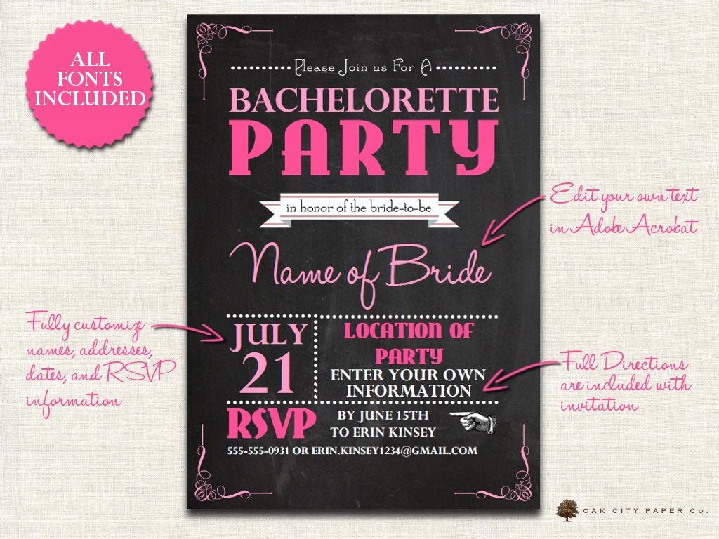 Bachelorette Party Invites Templates Elegant Bachelorette Invitation Chalkboard themed Bachelorette Party