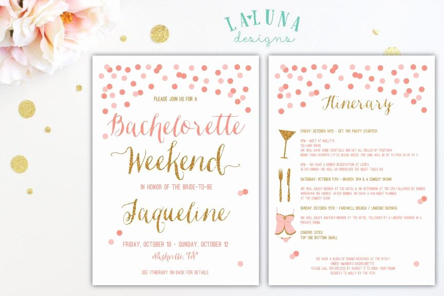 Bachelorette Party Invites Templates Elegant Bachelorette Party Itinerary Template