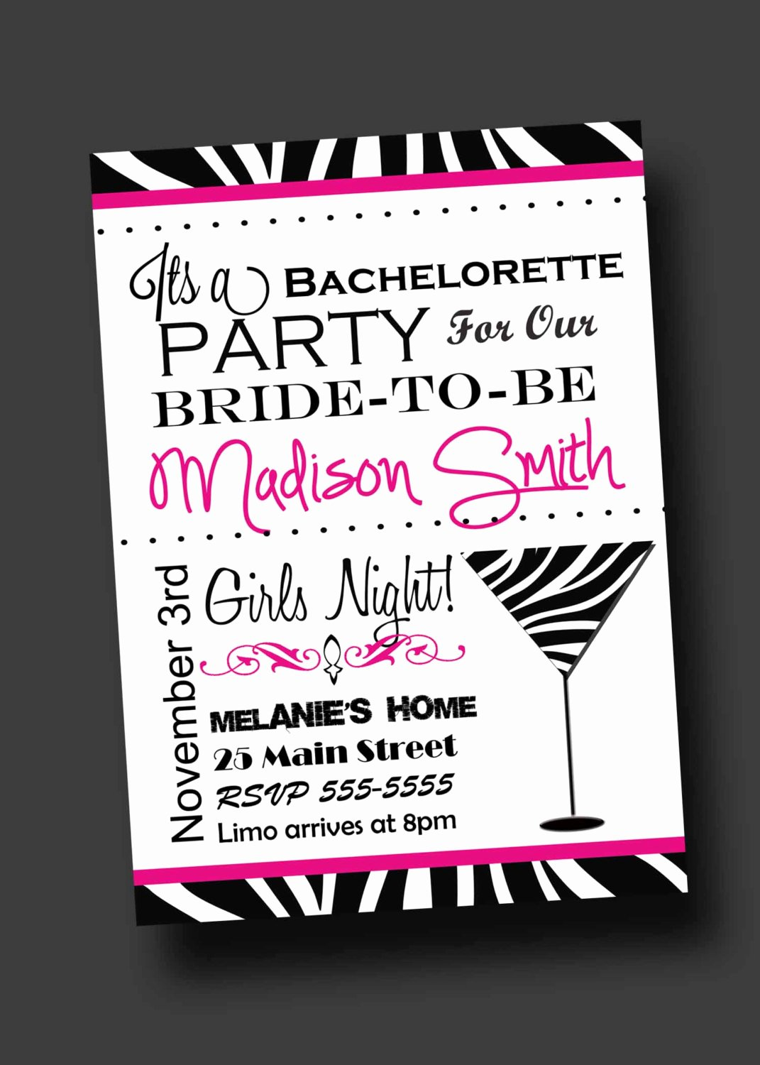 Bachelorette Party Invites Templates Luxury Bachelorette Party Invitation Zebra Print Printable Digital