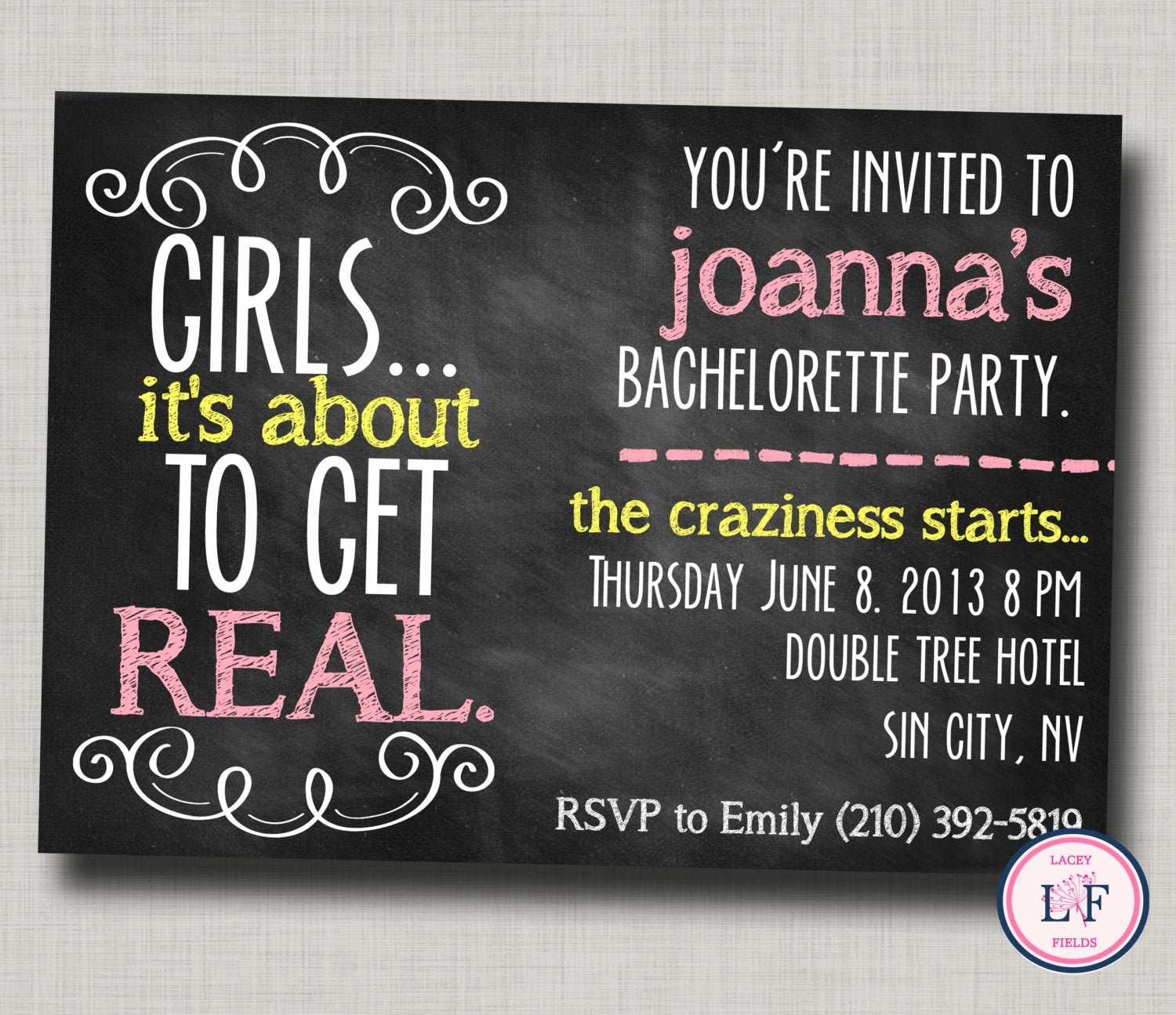 Bachelorette Party Invites Templates New Bachelorette Party Invitation Printable Chalkboard by