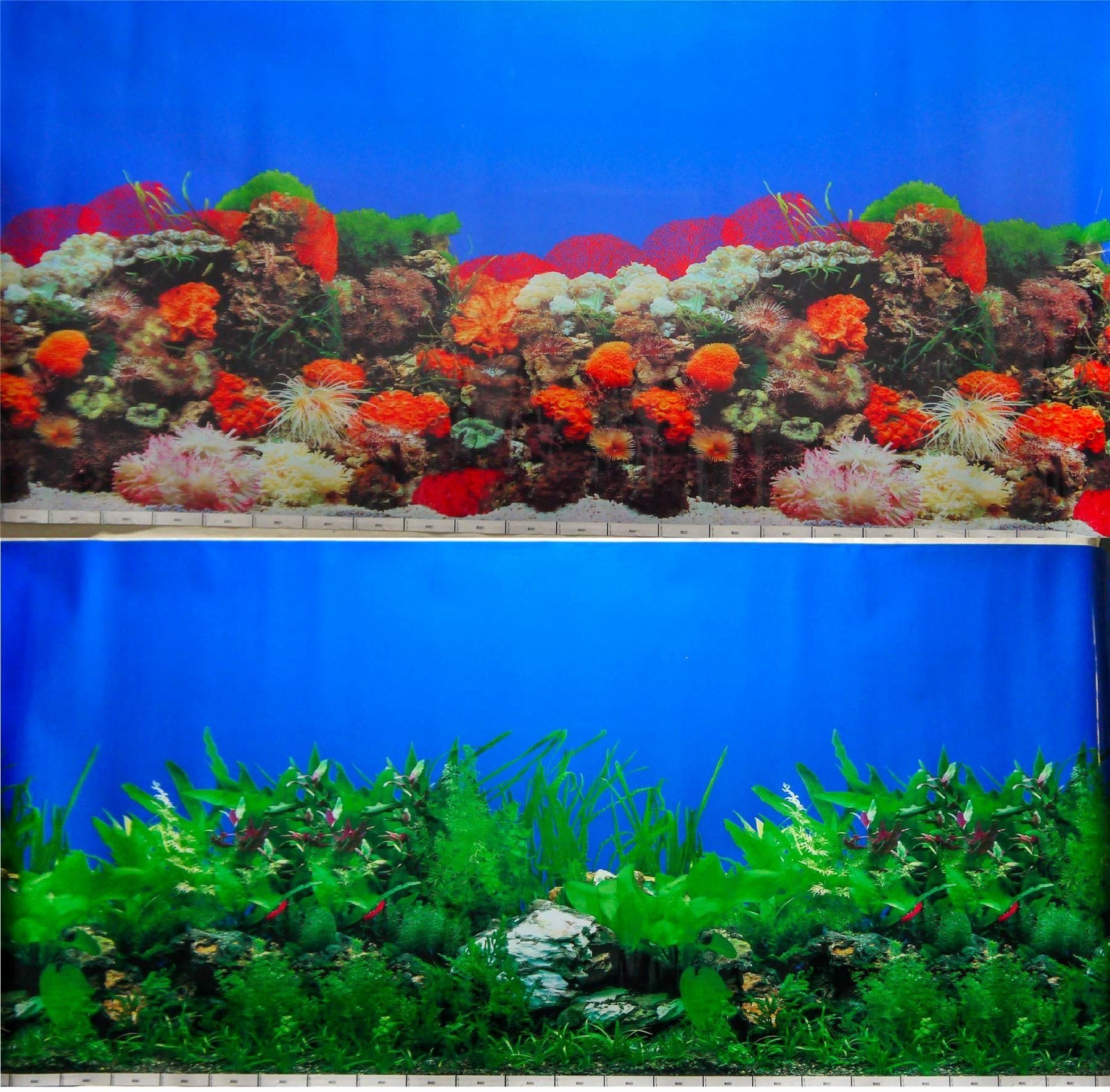 "Backgrounds for Fish Tanks Unique 24"" Double Sided Aquarium Background Backdrop Fish Tank"