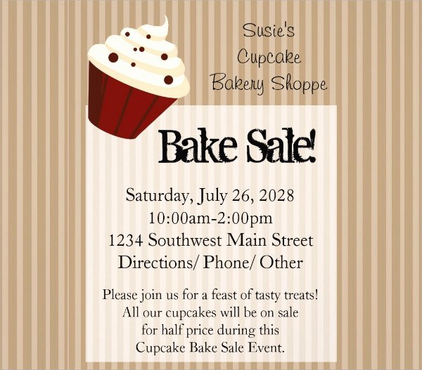 Bake Sale Flyer Wording Awesome 21 Bake Sale Flyers Templates Publisher Psd Ms Word